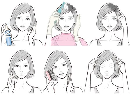 Illustration of woman doing hair care 일러스트