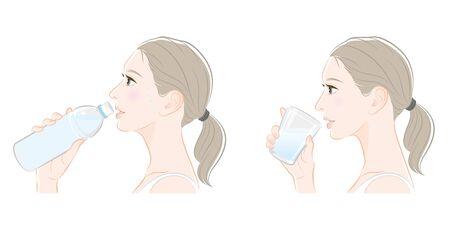 Profil de la femme, mesures du coup de chaleur, Vecteurs
