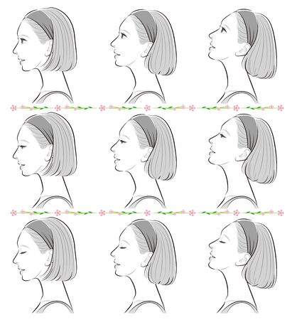 Facial expression illustration of a profile of a woman