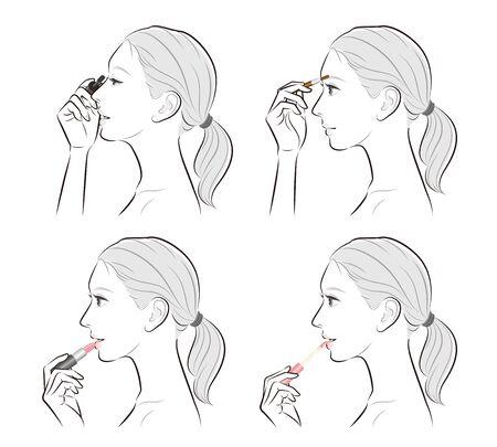 Illustration of a woman doing makeup Иллюстрация