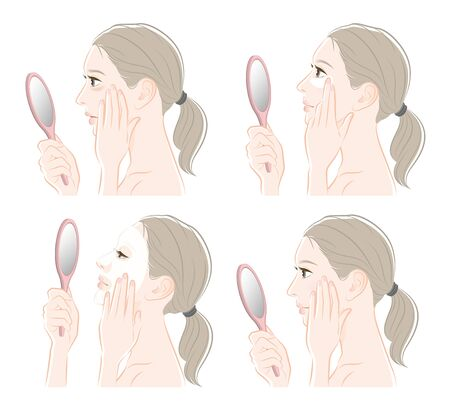 Illustration of a woman doing skin care Foto de archivo - 127043540
