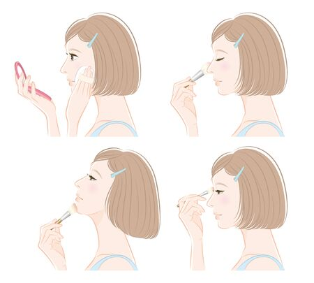Illustration of a woman doing makeup Illustration