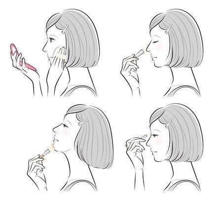 Illustration of a woman doing makeup