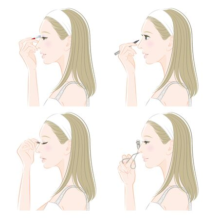 Illustration of a woman doing makeup Illusztráció
