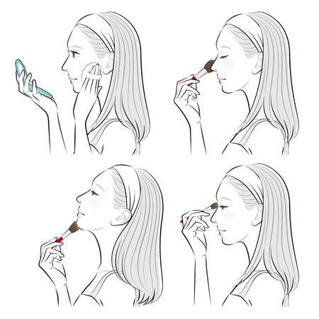 Illustration of a woman doing makeup 일러스트