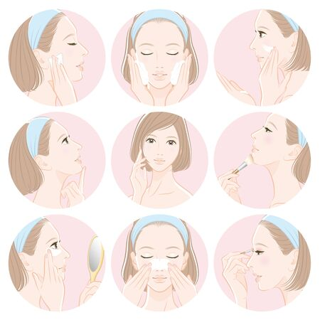 Illustration of a woman doing skin care
