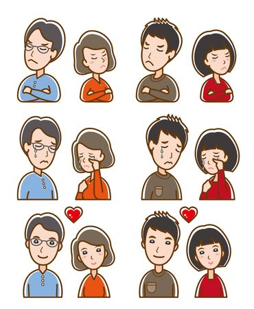 Illustration of couple facial expressions Illustration