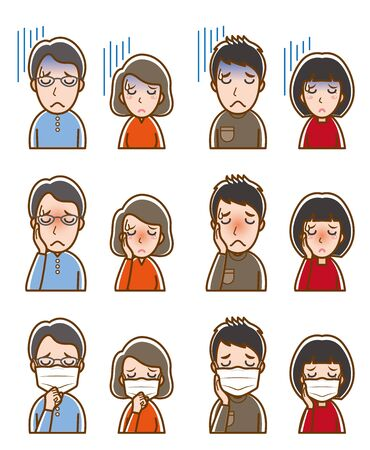 Illustration of couple facial expressions Иллюстрация