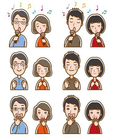 Illustration of couple facial expressions Иллюстрация