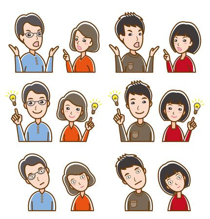 Illustration of couple facial expressions Illusztráció