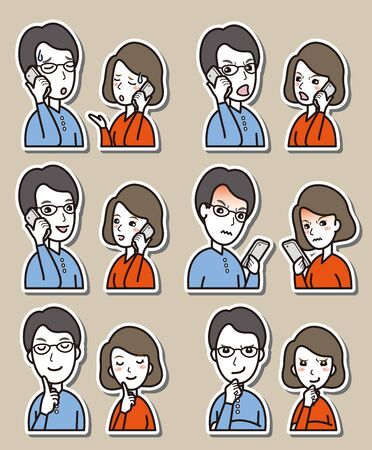 Illustration of couple facial expressions Vettoriali