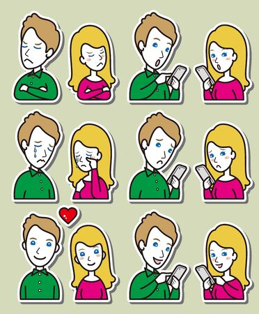 Illustration of couple facial expressions 일러스트