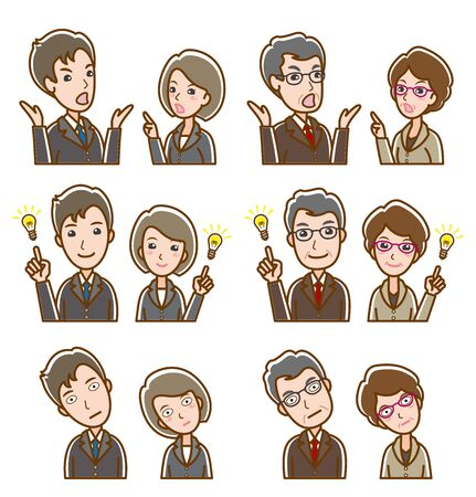 Illustration of facial expression of businessman and businesswoman