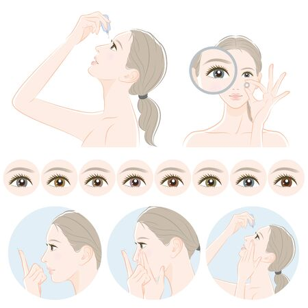 Illustration of a woman taking care of eyes : contact lens Illustration