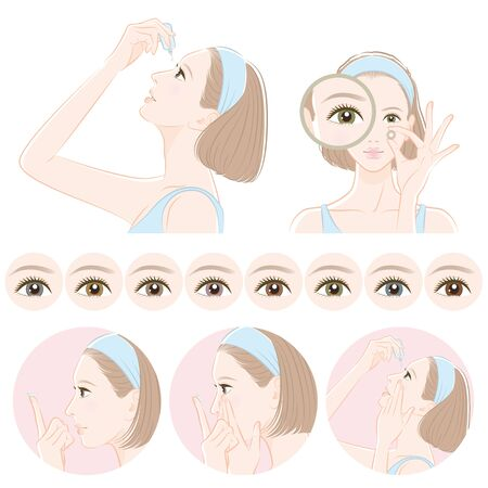 Illustration of a woman taking care of eyes : contact lens Stock Vector - 131282344