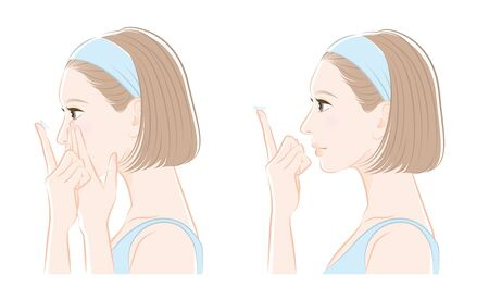 Illustration of a woman taking care of eyes : contact lens 向量圖像