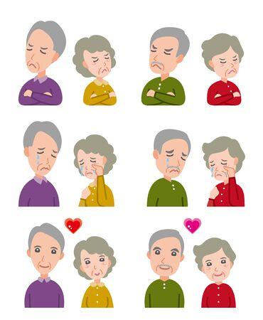 Illustrazione delle espressioni facciali: vecchia coppia Vettoriali