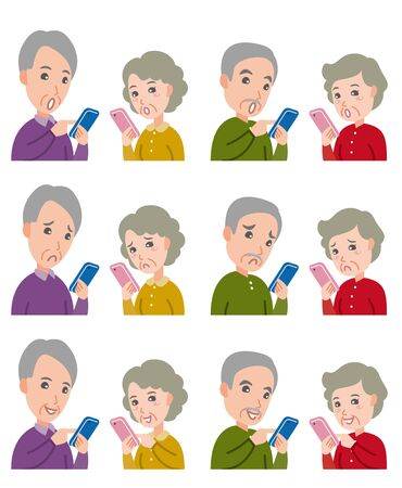 Illustration of Facial Expressions : Old Couple