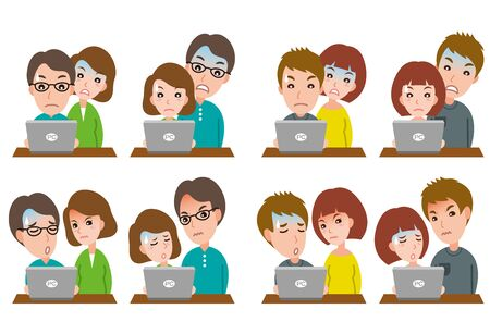 Illustration of couple facial expressions Stock Illustratie