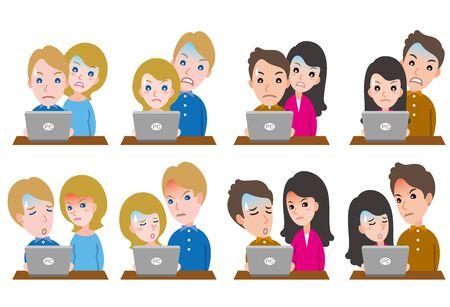 Illustration of couple facial expressions Illusztráció