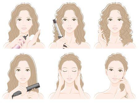 Illustration of woman doing hair care Illustration