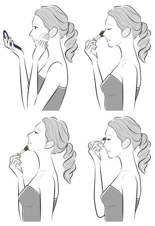 Illustration of a woman doing makeup Çizim