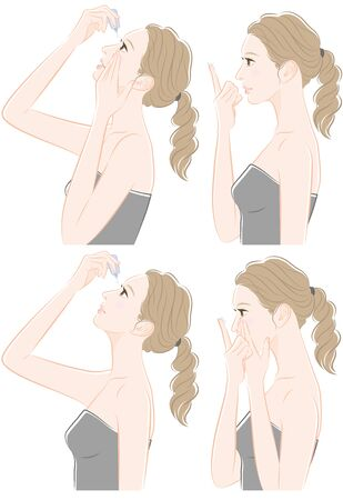 Illustration of a woman taking care of eyes : contact lens  イラスト・ベクター素材