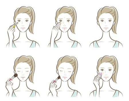 Illustration of a woman doing makeup Illustration