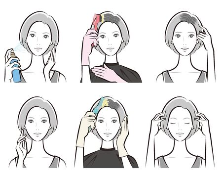 Illustration of woman doing hair care Иллюстрация