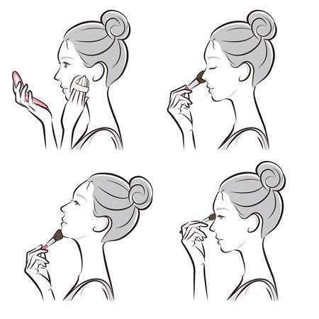 Illustration of a woman doing makeup Ilustrace