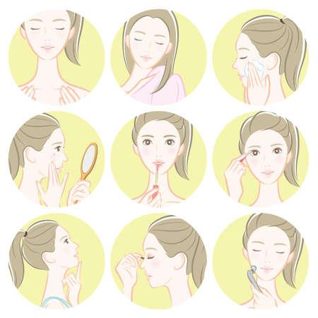 Women's beauty illustration.  Female upper body vector illustration. Ilustrace