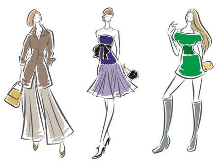 Fashion illustration of the woman Ilustração Vetorial