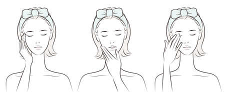 Vector illustration of a woman doing skin care Vectores