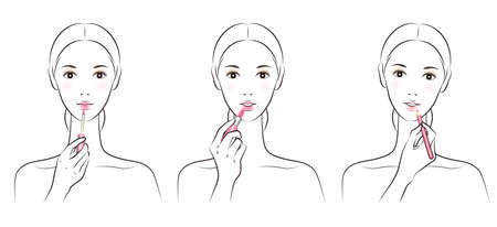 Illustration of a woman doing makeup Vectores