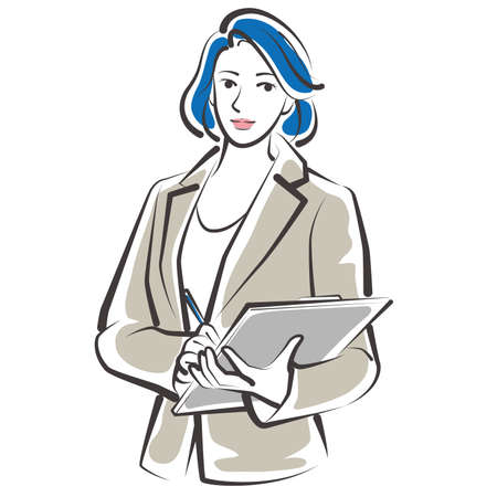 Vector illustration of working woman. Business woman.