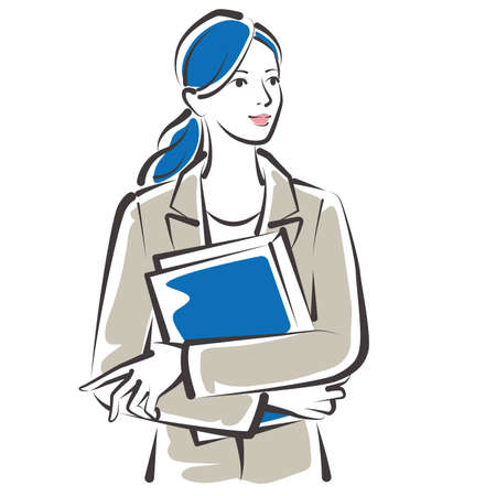 Vector illustration of working women. Business woman.