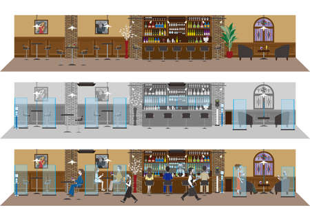 Infection control at restaurants. New style of restaurant. Vektorgrafik