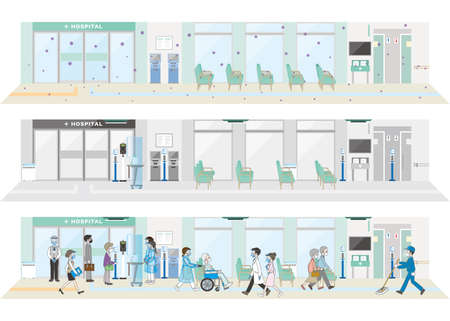 A new style of hospital. Hospital infection control. Vectores