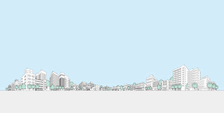 Vector illustration of cityscape. Line drawing illustration.