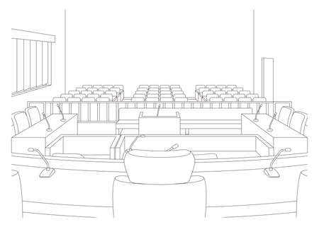 Vector illustration of court room. hold a trial.