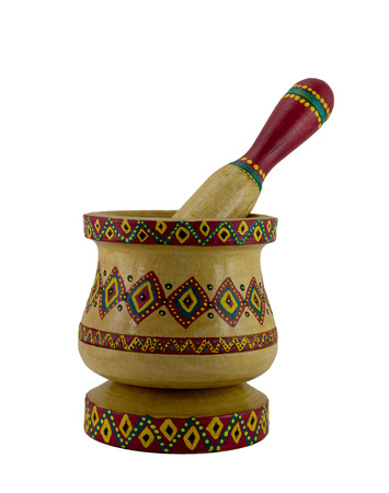 enhanced healthy: Egyptian artistic painted mortar and pestle, an ancient device used to prepare ingredients or substances mainly garlic by crushing and grinding them into a fine paste or powder