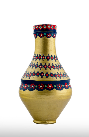 pottery: A Golden Egyptian pottery vessel made of clay, one of the oldest habits of the Ancient Egyptians