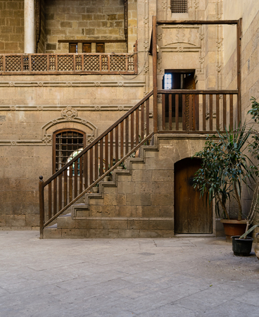 the distinguished: A courtyard of Zeinab Khatoun house, a historic house in Old Cairo, Egypt. Zeinab Khatoun house is one of the most remarkable houses left nowadays. Named after its last owner, as was the custom for Islamic houses in those days, it occupies a distinguished