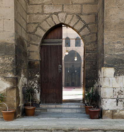 mohammad: Entrance of the Mosque of Al Nasir Mohammad Ibn Qalauon, revealing the mosqus courtyard, situated in the Citadel of Cairo in Egypt Stock Photo