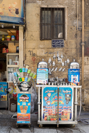 traditions: local mobile  juice bar, Moez Street, Cairo, Egypt. One of the traditions of Egypt