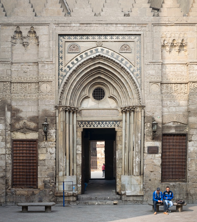 theological: Entrance of theological school and Mausoleum of Sultan Qalawun, Moez Street, Cairo, Egypt Editorial
