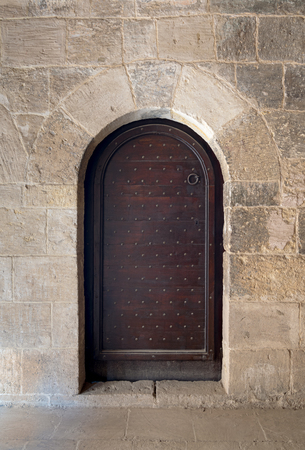 the vaulted: Wooden aged vaulted ornate door and stone wall Stock Photo