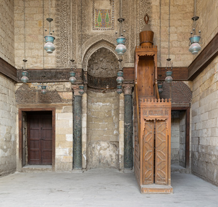 Interior of theological school and Mausoleum of Sultan Qalawun, Moez Street, Cairo, Egypt