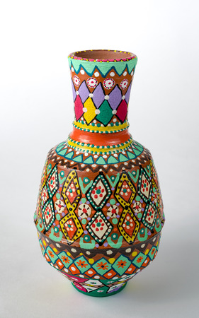 Egyptian Decorated Colorful Painted Pottery Vase Arabic Kolla