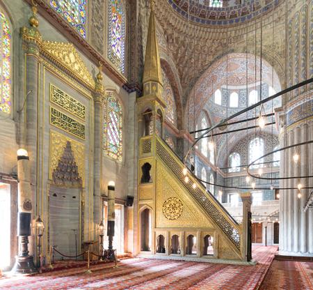 Marble floral golden ornate minbar (Platform) and niche, Sultan Ahmet Mosque (Blue Mosque), Istanbul, Turkey